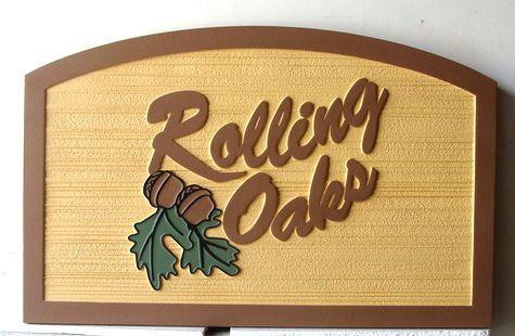 """I18336 - Carved and Sandblasted 2.5D HDU  Property Name Sign,""""Rolling Oaks"""""""