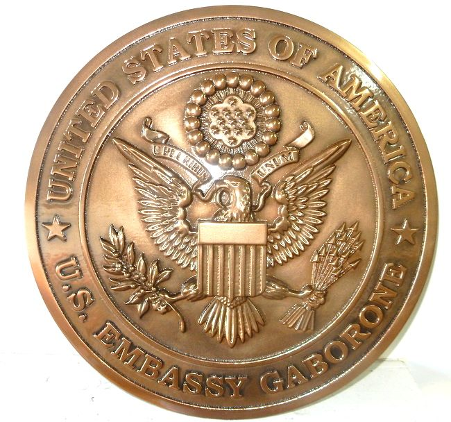 AP-3700 - Carved Plaque of the Seal of the United States Embassy in Gabarone, Copper Plated