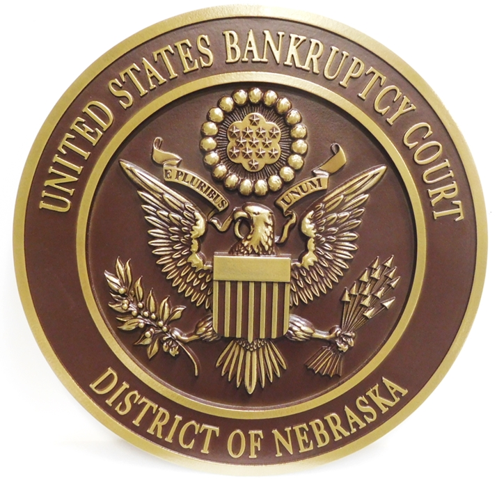 FP-1430 - Carved Plaque of the Seal of the US Bankruptcy Court, District of Nebraska, 3-D Bronze Plated