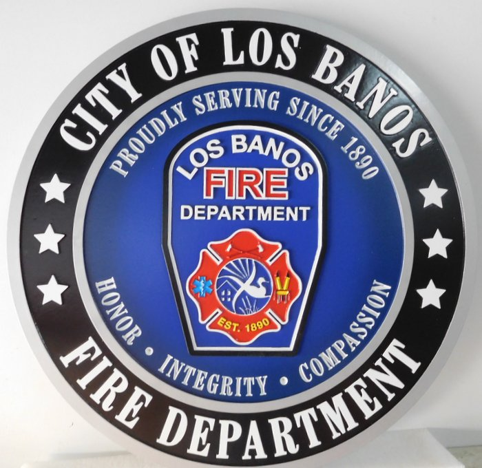 QP-3030 - Carved Wall Plaque of  the Seal  of the City of Los Banos  Fire Department, California, Artist Painted