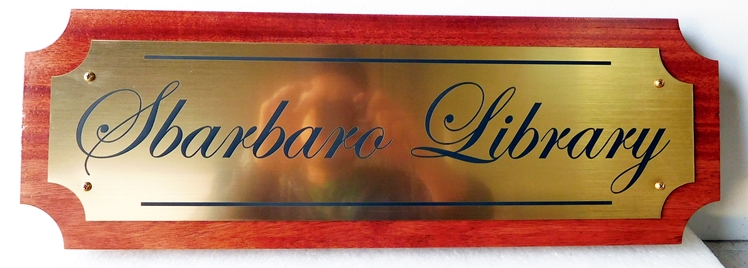N23010 - Custom Carved HDU  Wall Plaque  for the Sbarborow Library uses an engraved brass plaque on a Mahogany Plaque
