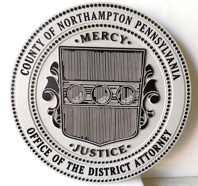 A10902 - Carved and Engraved Wall Plaque for the District Attorney of the County of Northampton, Pennsylvania