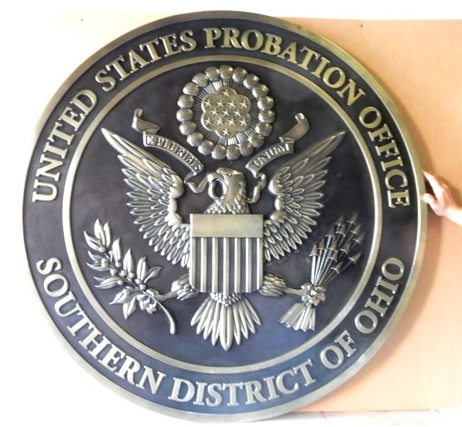 A10821 - Carved 3D Bas-relief Bronze-coated Great Seal , US Probation Office,Eastern Washington