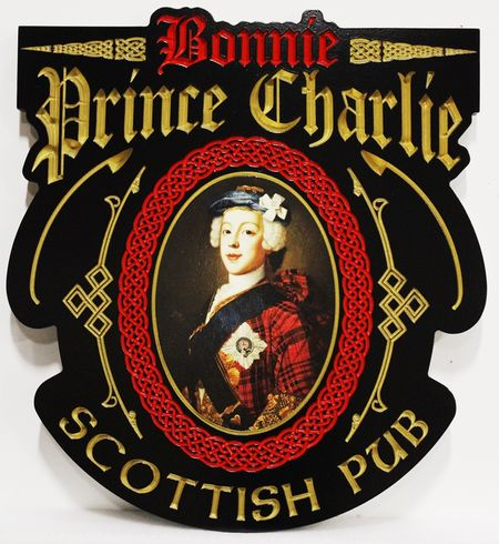 "RB27515 - Engraved HDU Sign for the ""Bonnie Prince Charlie""  Scottish Pub, with a Digital Giclee Vinyl Print of a High-Resolution Portrait Painting as Artwork"