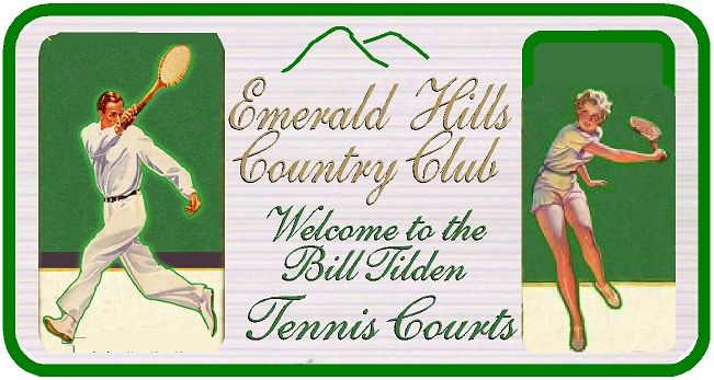 GB16841 - Carved HDU  Bill Tilden Tennis Court Entrance Sign for the Emerald Hills Country Club