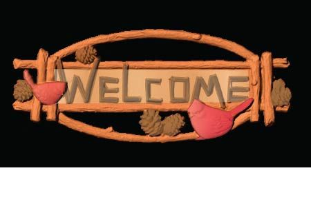 M22128 - Carved 3-D Cedar Cabin Welcome Sign with Pinecones and Birds