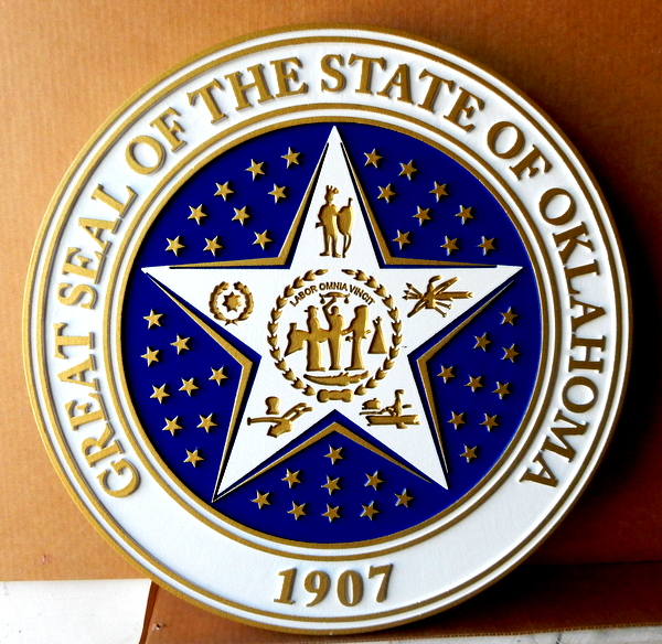 BP-1450 - Carved Plaque of the Seal of the State of Oklahoma, Artist Painted in Metallic Brass