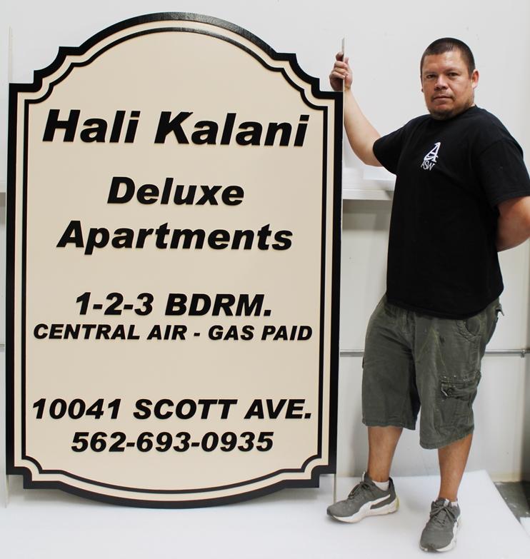 "K20401 - Carved High-Density-Urethane (HDU) Entrance and Address Sign for the ""Hali Kalani Deluxe Apartments"""