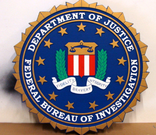 U30360A - 2.5D Carved Wooden Wall Plaque for the Seal of the FBI