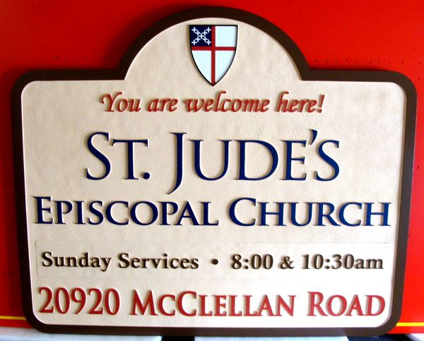 D13054 - Carved and Sandblasted HDU Entrance Sign for St. Jude's Episcopal Church
