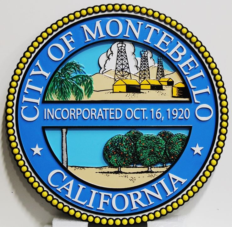 DP-1705 - Carved Plaque of the Seal of the City of Montebello, 2.5-D Artist-Painted