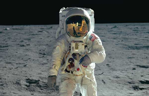 Buzz Aldrin walks on the Moon.