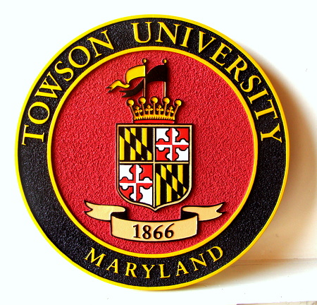 Y34364 - Carved Towson University Great Seal Wall Plaque