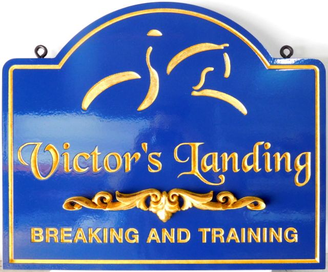 P25047 - Carved, Sandblasted, HDU Sign for Horse Breaking and Training Facility with 24K Gold-Leaf, Stylized Horse and Rider, Text and Borders
