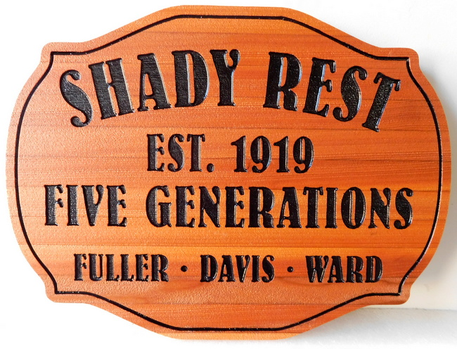 "I18947 - Engraved Cedar Wood Property Name Sign ""Shady Rest"""