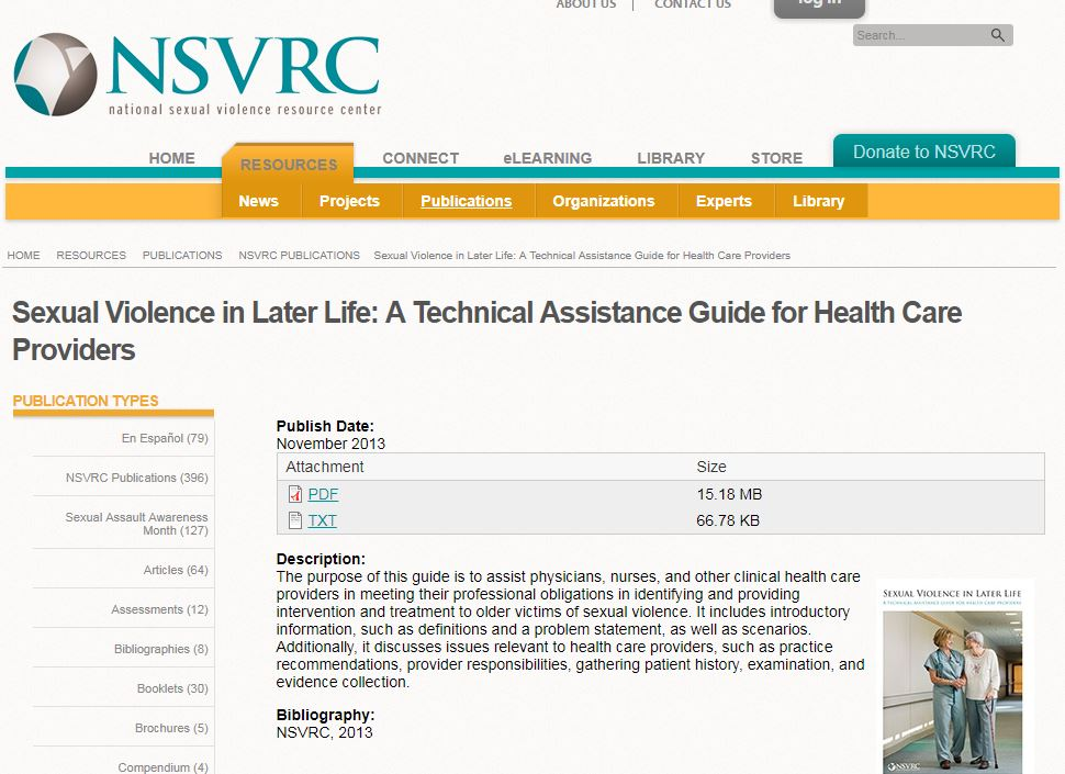 Sexual Violence in Later Life: A Technical Assistance Guide for Health Care Providers