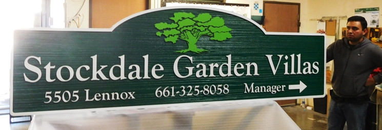 "K20328 - Carved HDU Sign,  for  the ""Stockdale Garden Villas"" Apartments, with Wood Grain Sandblasted Background"