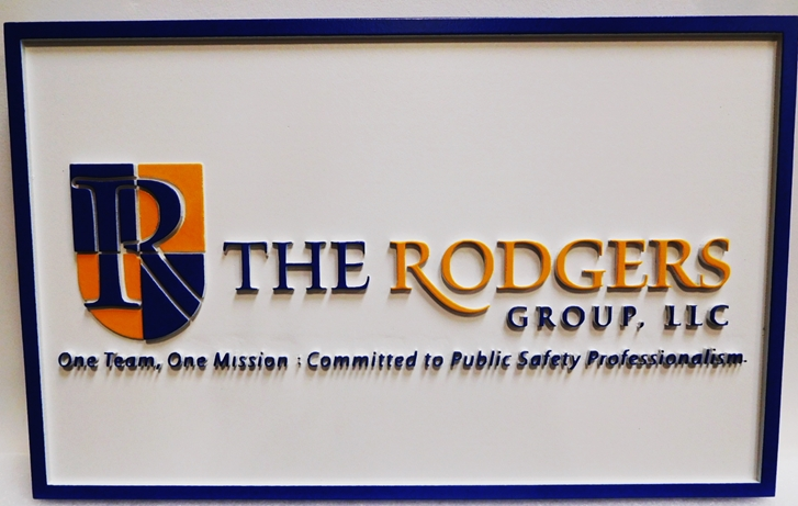 "S28126 - Carved and Sandblasted Wood Grain  HDU Commercial Sign  for the ""Rodgers Group, LLC "" ,  2.5-D Artist-Painted"