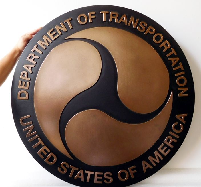 AP-6085 - Carved Plaque of the Seal of the US Department of Transportation, Bronze-Plated