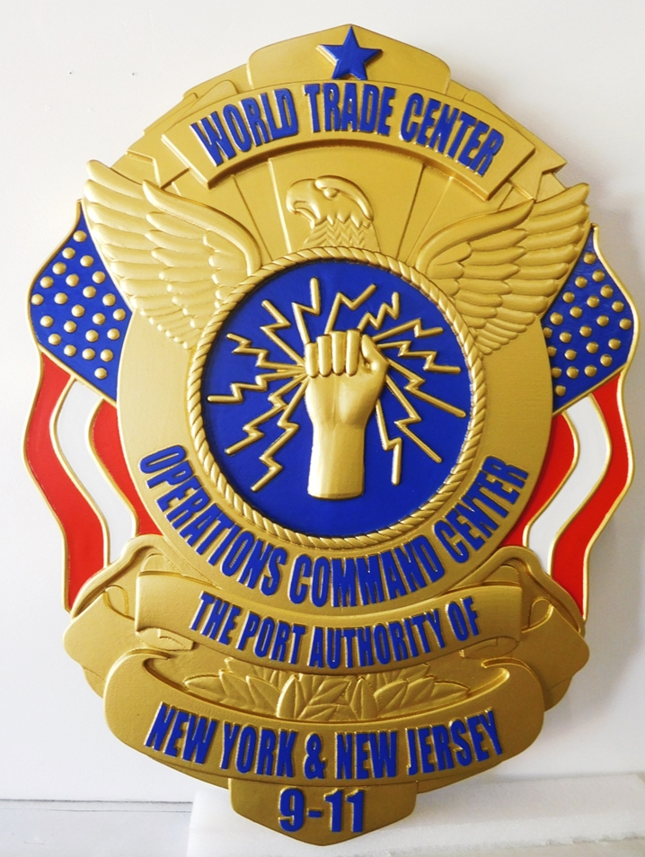 PP-1477 - Carved Plaque of the Badge of the Operational Command Center, World Trade Center of NYC, Artist-Painted