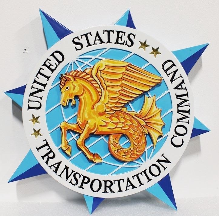 MP-1275- Carved Plaque of the Seal of the  US Army's Transportation Command, 2,5-D  Artist Painted