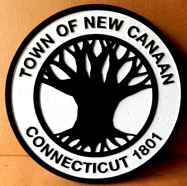 X33108 - Carved Wall Plaque for Town of New Canaan, withLarge Tree
