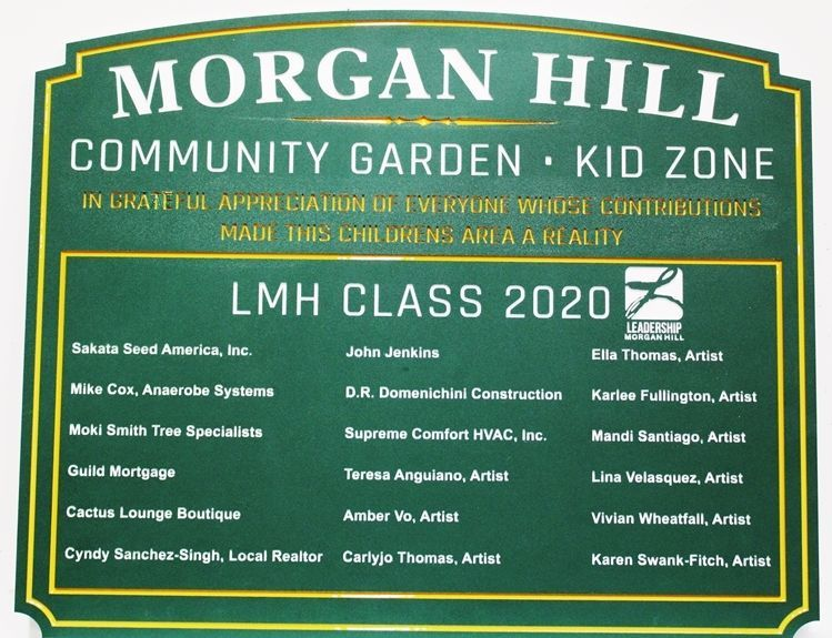 GA16419 - Carved 2.5-D  Engraved Sign for the Morgan Hill Community Garden,   Made of  Strong ColorCore High-Density Polyethene (HDPE) Plastic