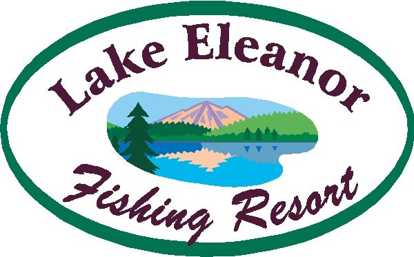 M22353 - Design of Sign for Lake Fishing Resort with Reflection of Mountain in Lake