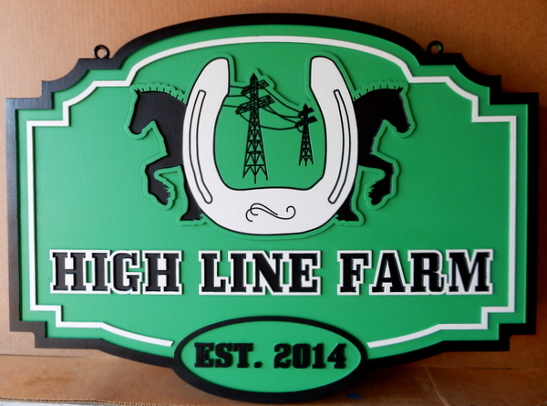 "P25154 - Carved HDU Sign for ""Hi-Line"" Farm"", with Silhouettes of Two Horses and Large Horseshoe"