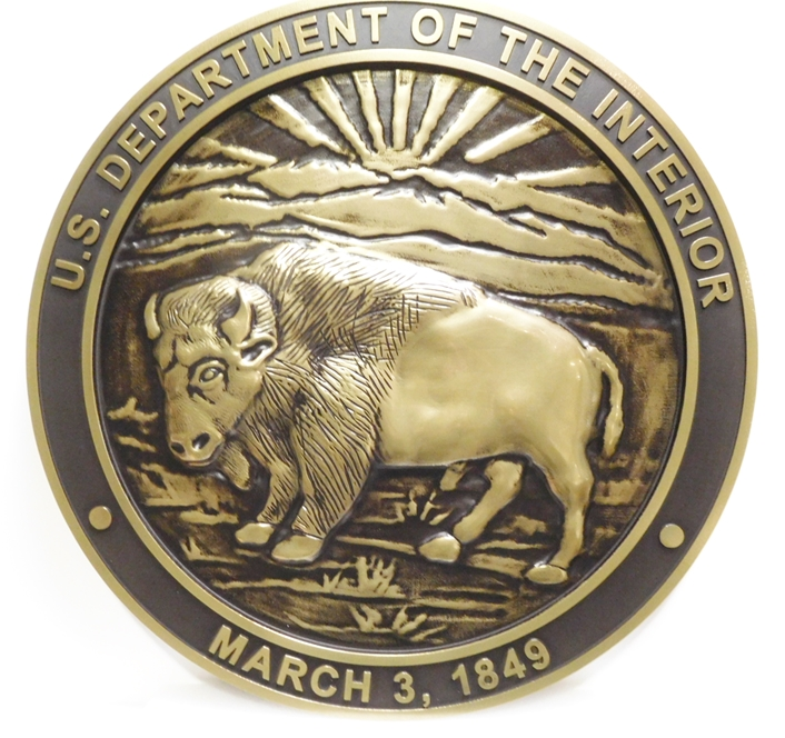 G16042 - Carved Wall Plaque of the Seal for the Department of Interior, 3-D  Brass-Plated, with Buffalo as Artwork