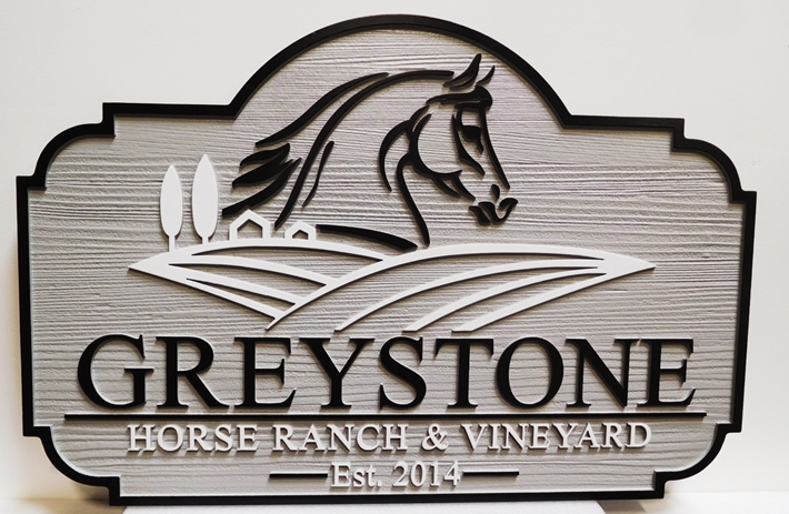 "P25059- Carved HDU Sign for ""Greystone Horse Ranch and Vineyard"" with outline of Stylized Horse and Vineyard"