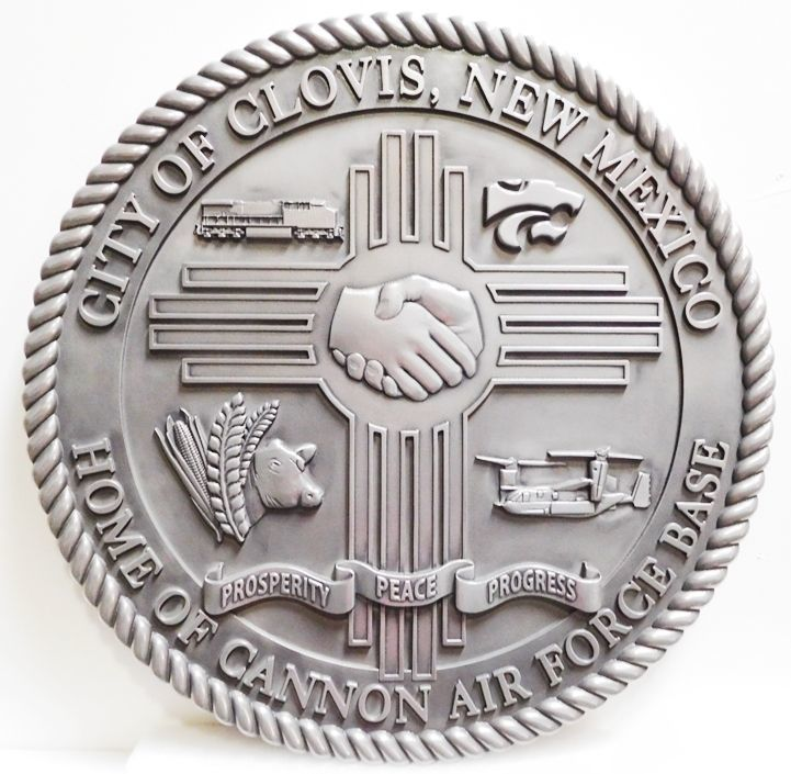 X33262 - Carved 3-D Aluminum-Plated HDU  Plaque of the Seal of the City of Clovis, New Mexico