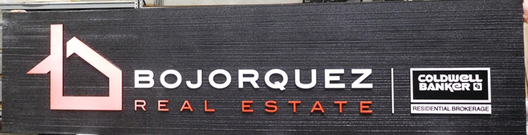 C12330 -  Carved and Sandblasted HDU Sign for Bojorquez  Real Estate Firm Sign, Raised Text, Art and Border and Wood Grain Background