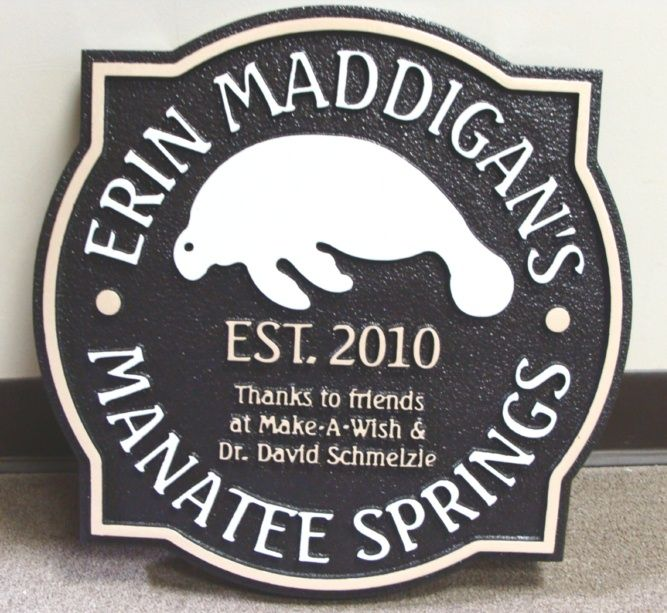 GA16492 - Carved HDU Sign for Manatee Springs with Carved Manatee