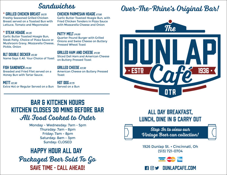 Dunlap Cafe Folding Menu Exterior