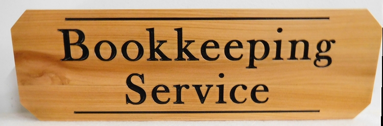 C12120- Natural Cedar Engraved Sign for Bookkeeping Service