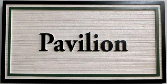"SA28029 - Carved and Sandlasted (Wood Grain Pattern) HDU sign for ""Pavilion"""