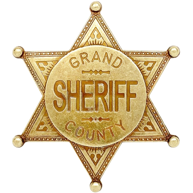 PP-1740 - Engraved Wall Plaque of the Star Badge of the Sheriff, Grand County (Antique), Brass Plated