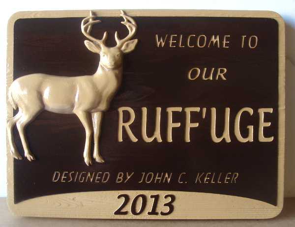M22601 -  Cedar Sign for  Deer Refuge with Carved 3-D Deer