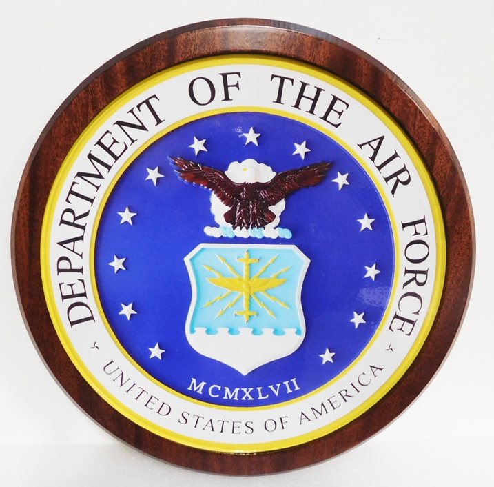 LP-1070- Carved Plaque of the Seal of the US Air Force, 3D African Mahogany