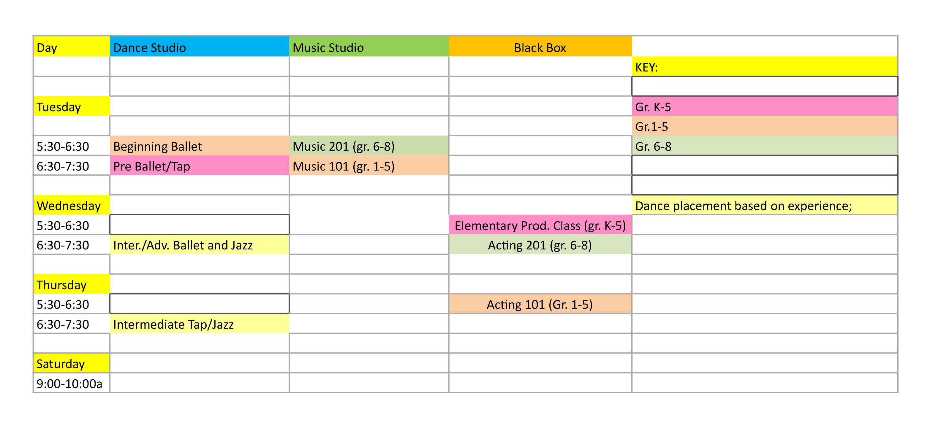 2019 Spring Stage School Schedule