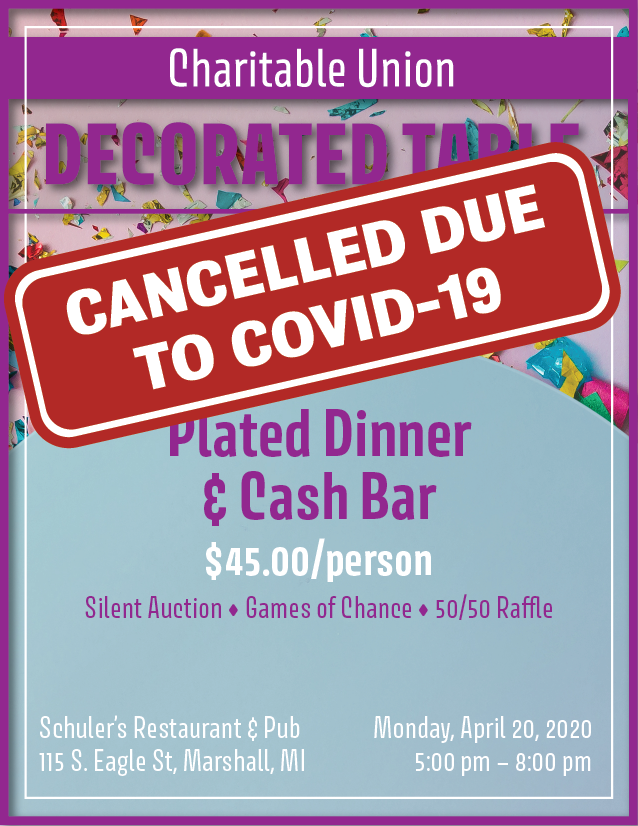 cancelled decorated table event