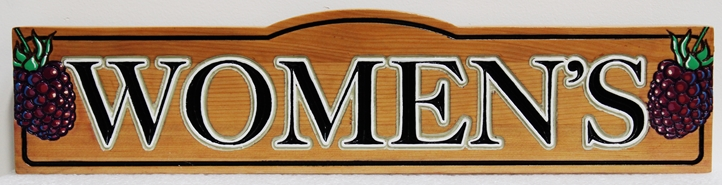 R27600 -  Carved Western Red Cedar Women's Room Sign for a Winery, with Grape Clusters as Artwork