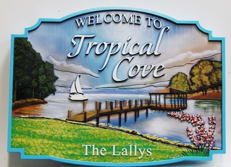 "M22362 - Carved 2.5-D Multi-level HDU Lake House Name  Sign ""Tropical Cove"", with Lake, Dock, Sailboat and Trees as Artwork"