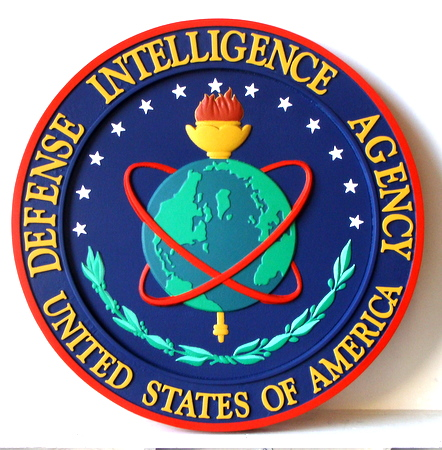 V31131 - Carved Wood Wall Plaque of the Seal of the Defense Intelligence Agency, DIA  (Small Size)