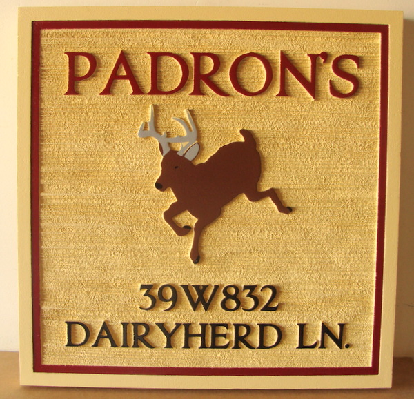 """M22626 - Sandblasted Cabin Sign """"Padron's"""" with Jumping Deer"""