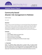 Community-Based Disaster Risk Management in Pakistan