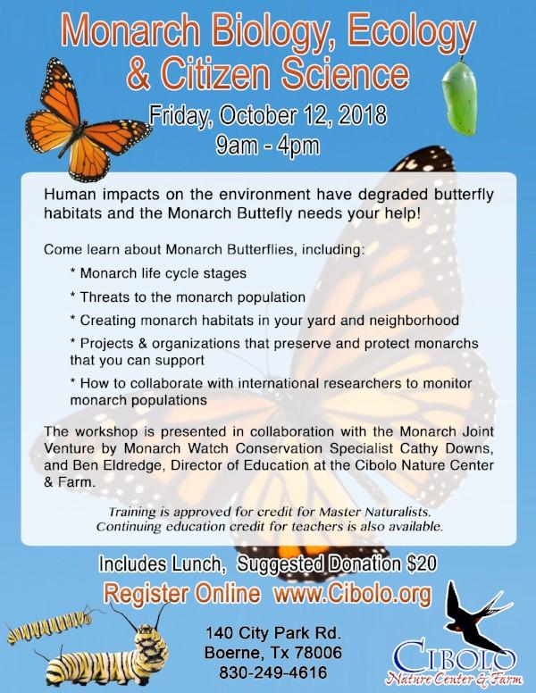 CNC: Monarch Biology, Ecology & Citizen Science Workshop