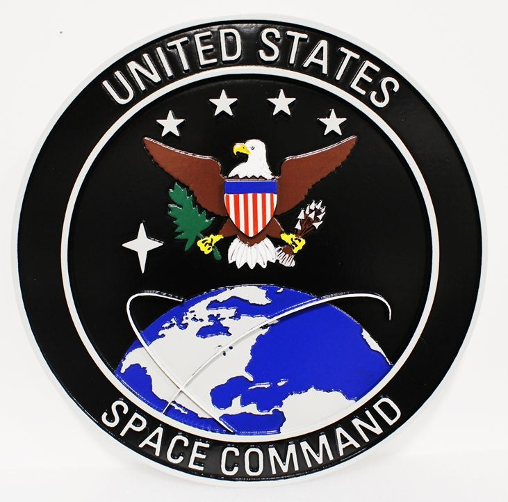 LP-1515 - Carved Plaque of the Crest/Seal of the United States Strategic Command, 2.5-D Artist-Painted