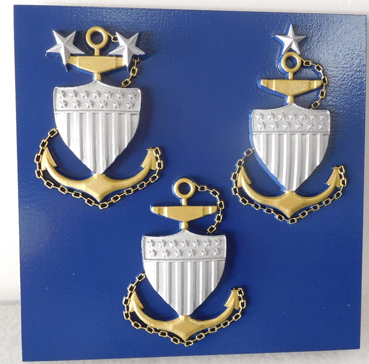 NP-1350 - Carved Plaque  of Identification Badges for  US Coast Guard Senior Enlisted Leaders,  Painted gold and Silver Metallic